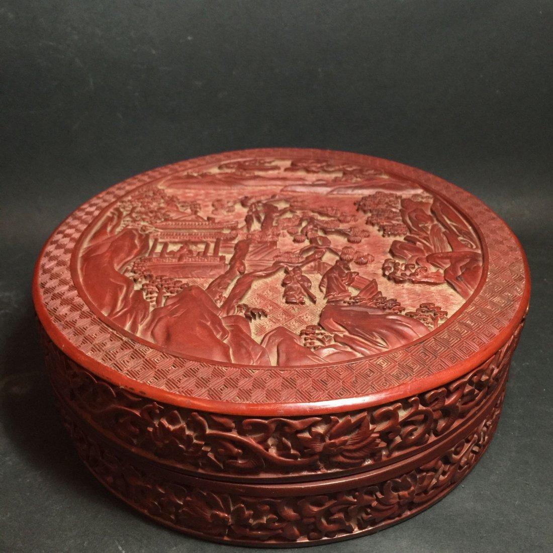A Chinese Circular Tihong City View Box