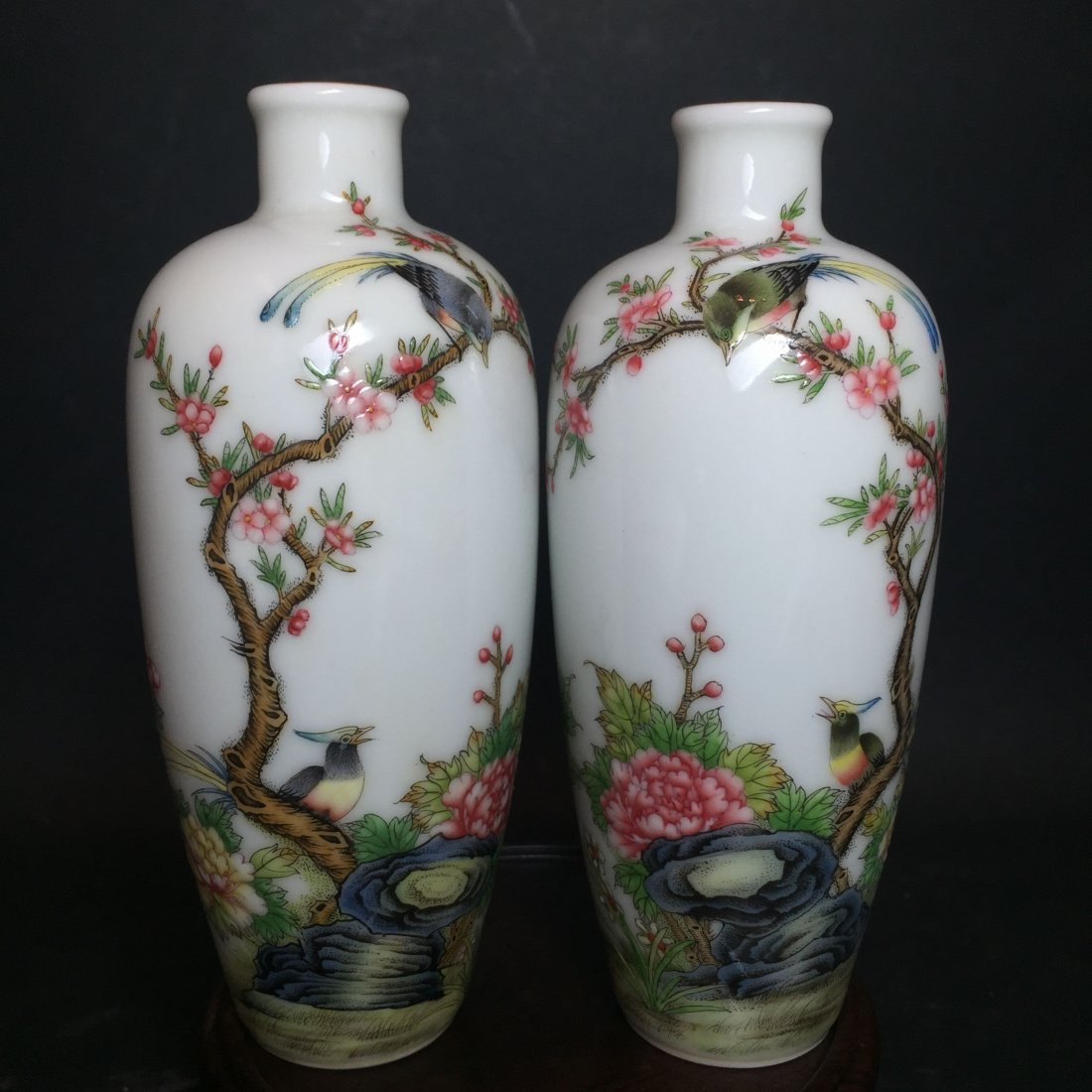 A Pair of Chinese Nature-sceen Narrow-opening Vases