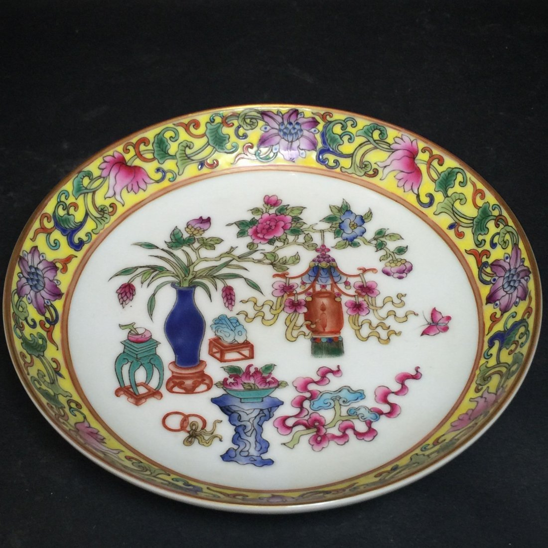 A Yellow and White Chinese Plant-filled Plate