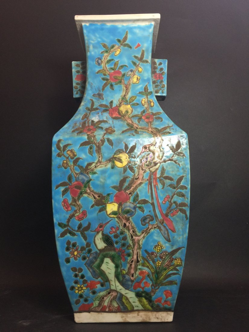 A Chinese Peach Tree Handled Blue Vase