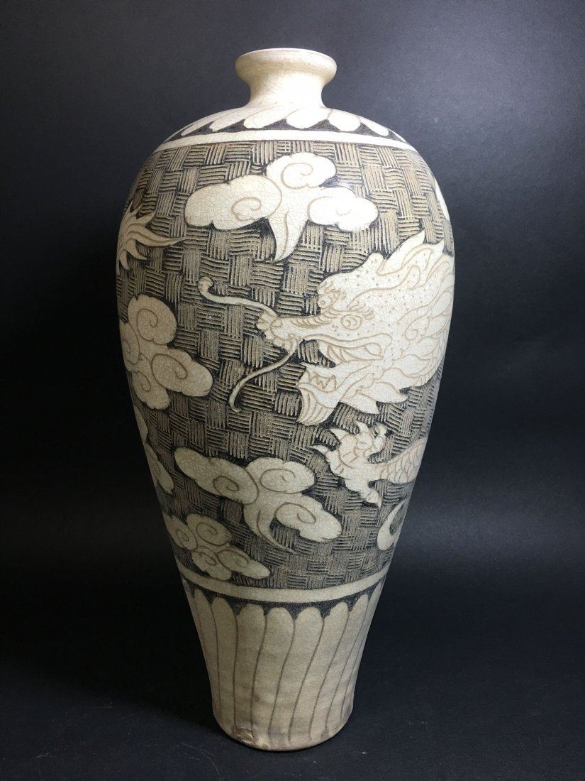 A Chinese Cloudy Gray Dragon Vase