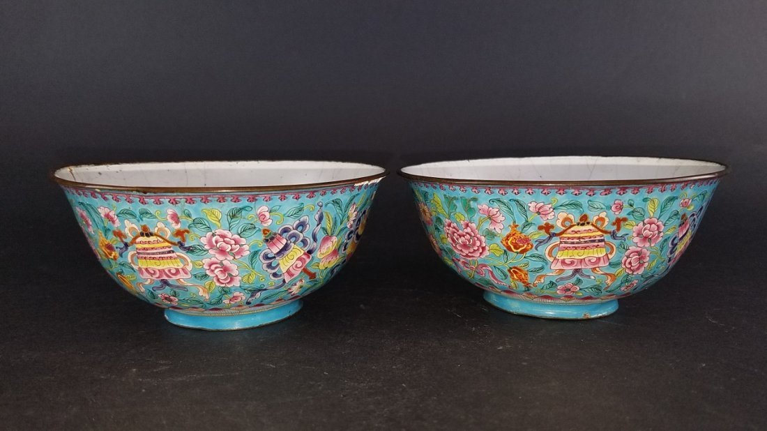 Pair of Chinese Cloisonne Bowls