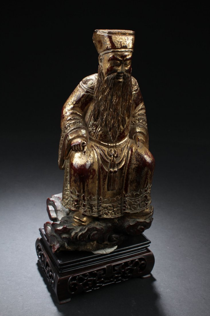 Chinese Gilt and Wood Daoist Figure