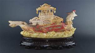 Chicken Blood Soap Stone Carving of Phoenix Boat
