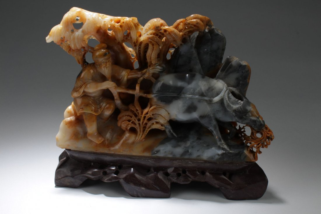 A Chinese Soapstone Curving Farming-sceen Display