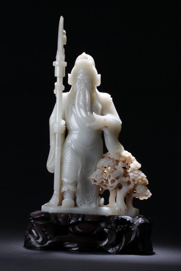 A Hotan Warrior Curving Statue