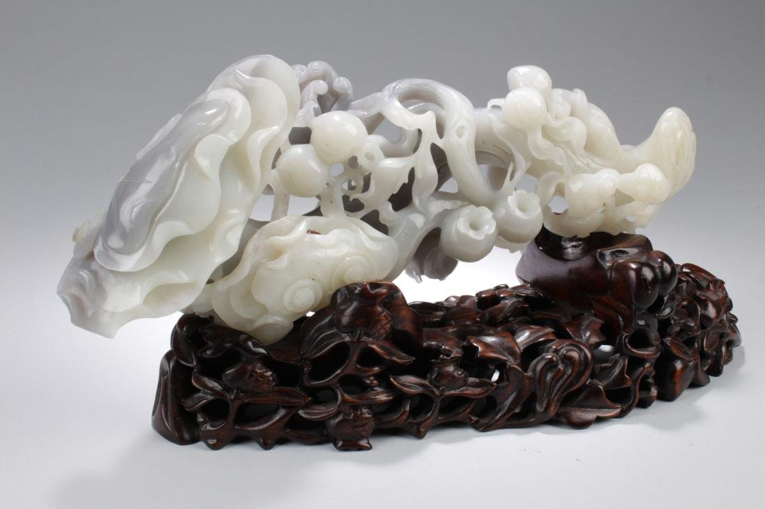 An Estate Massive Jade-curving Ruyi Display