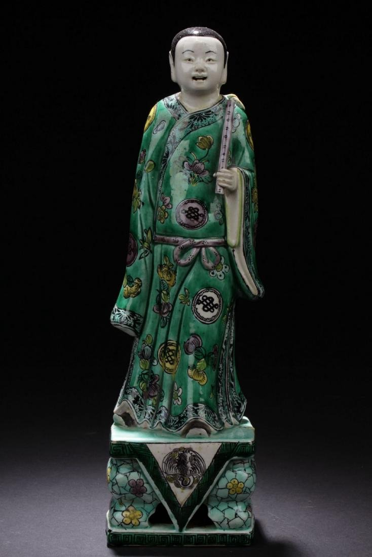 Chinese Antique Famille Verte Porcelain Scholar Figure