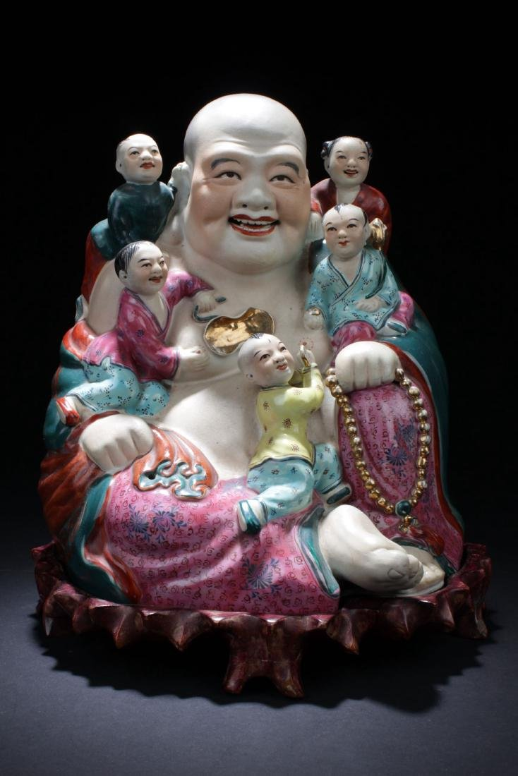 Chinese Antique Famille Rose Smiling Buddha Statue