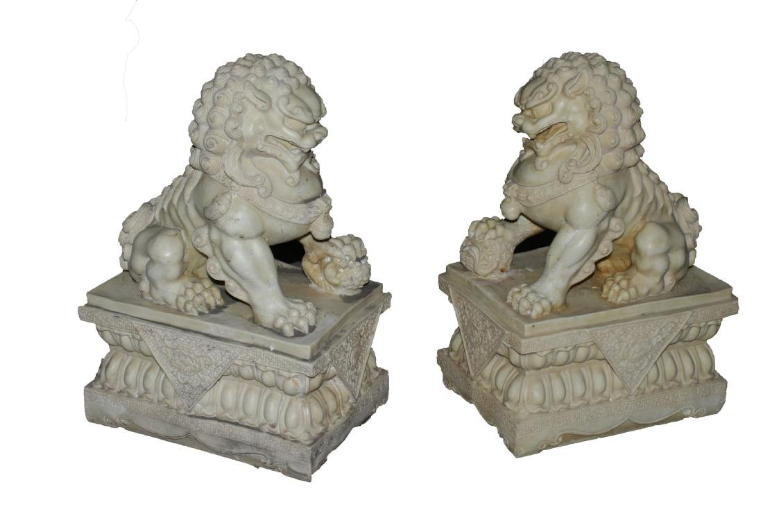 A Pair of Estate Guard-beast Chinese Stone Curving
