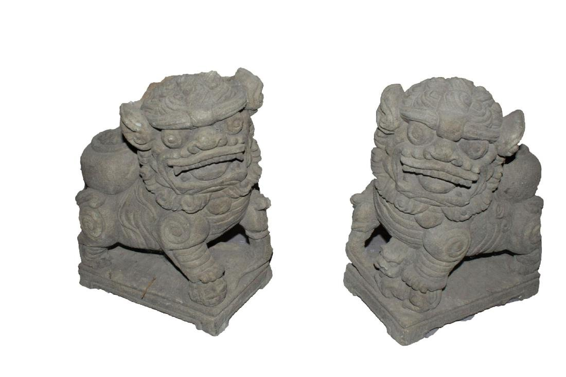 A Pair of Guard-beast Chinese Stone Curving Displays