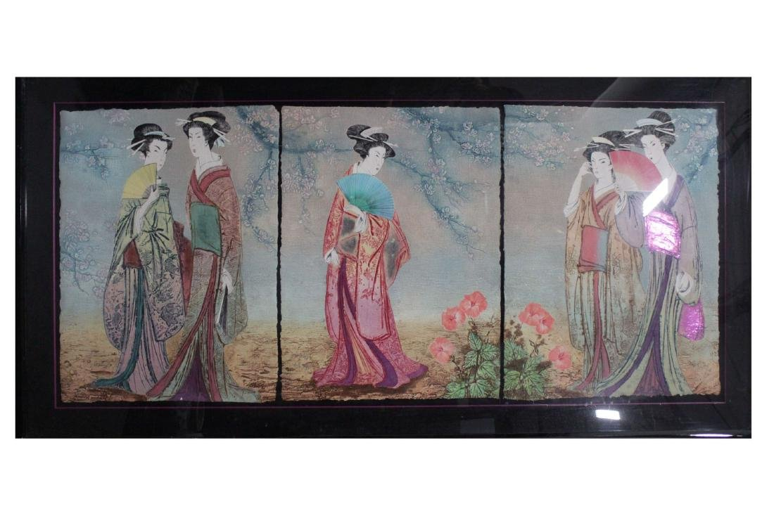 An Estate Japanese Portraif of Women Pannel Display