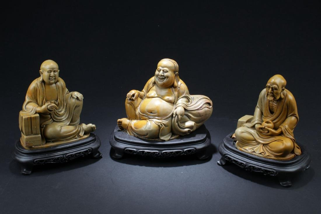 Three Chinese Estate Rohan Buddha Statues Display