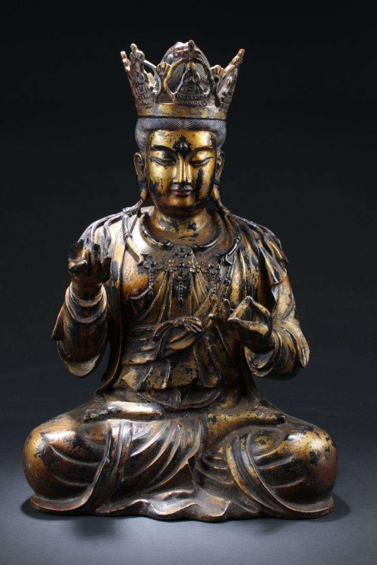 An Estate Gilt Seated Buddha Statue