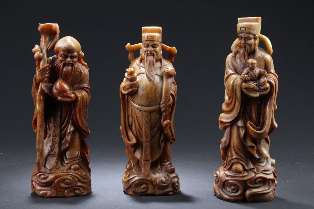Three Estate Chinese Soapstone Curving Statues