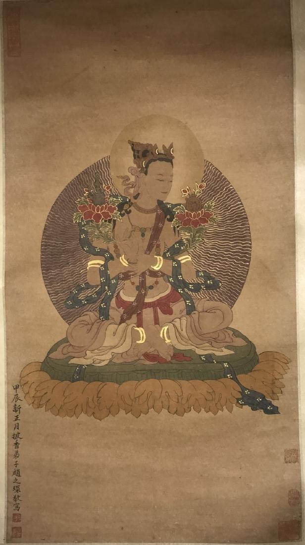 An Estate Tibetan Buddha Painting Scroll