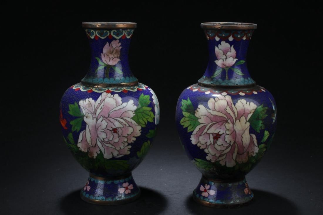 Two Estate Cloisonne Vases