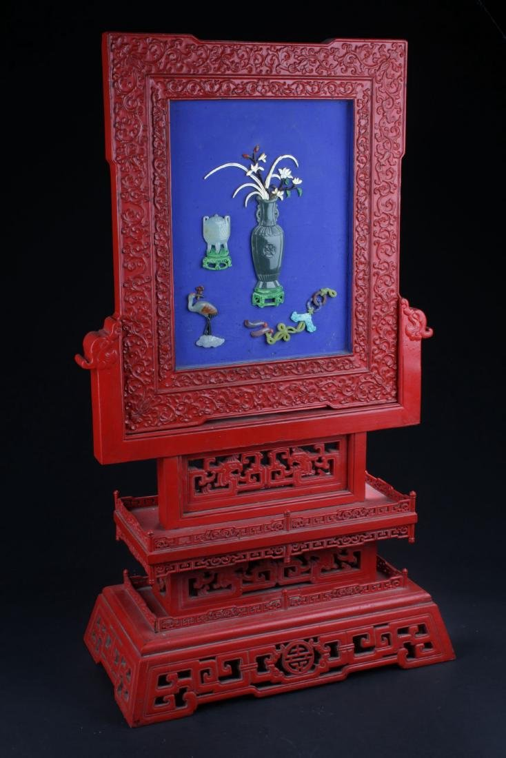 A Jade-inserted Decorating Chinese Tihong Display