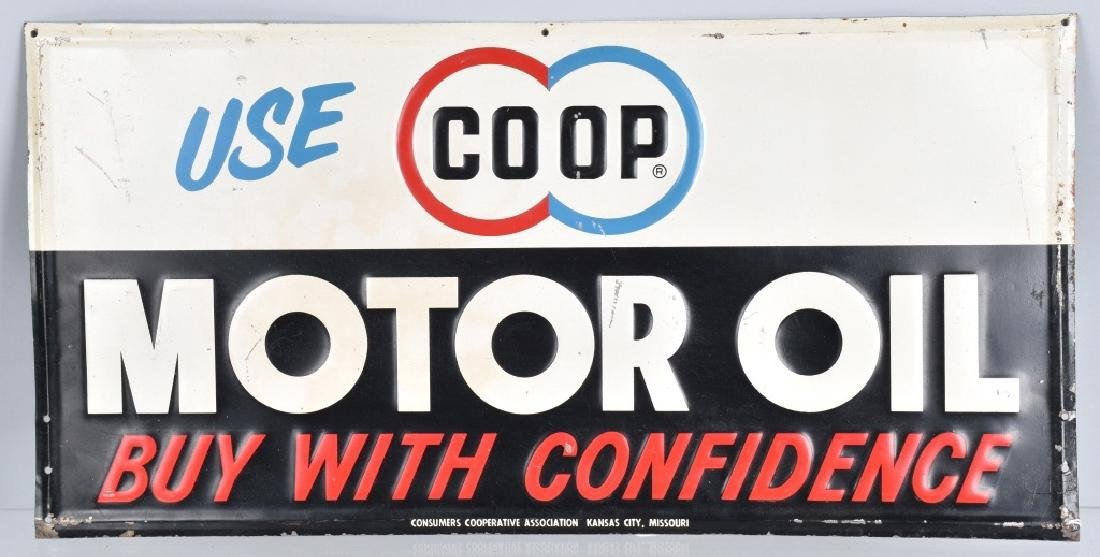 USE COOP MOTOR OIL TIN SIGN