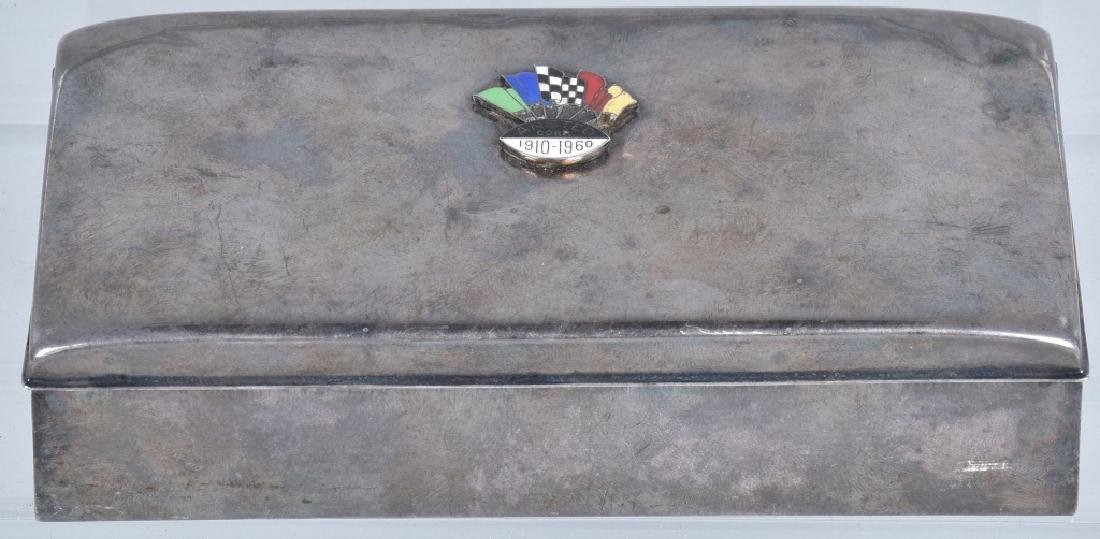 ANSTED CORP SILVER CIGAR BOX w/ RACING FLAGS