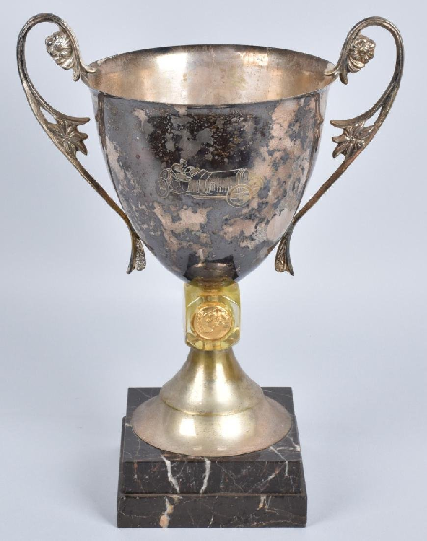 1920s RACE CAR TROPHY CUP ON MARBLE BASE
