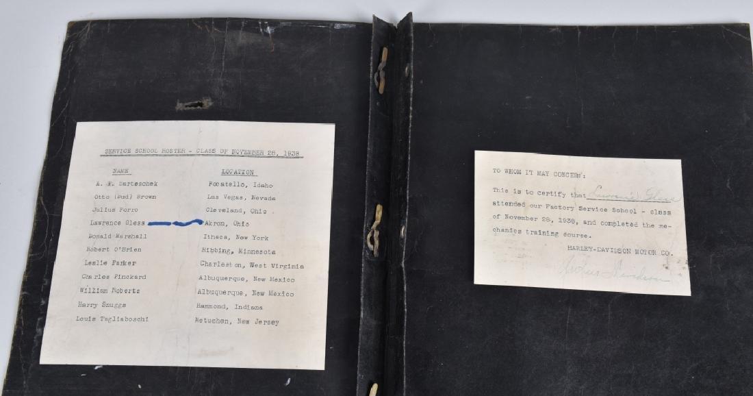 1938 HARLEY DAVIDSON SERVICE SCHOOL FOLDER SIGNED - 3