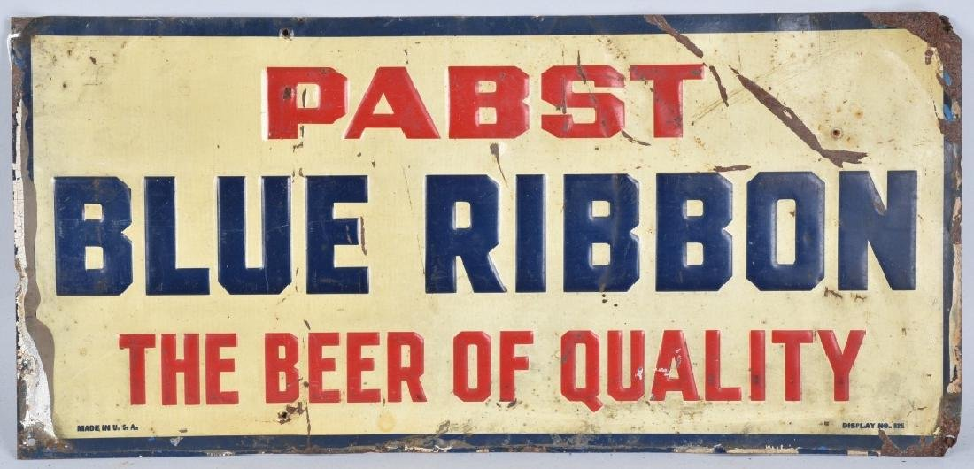 PABST BLUE RIBBON TIN EMBOSSED SIGN