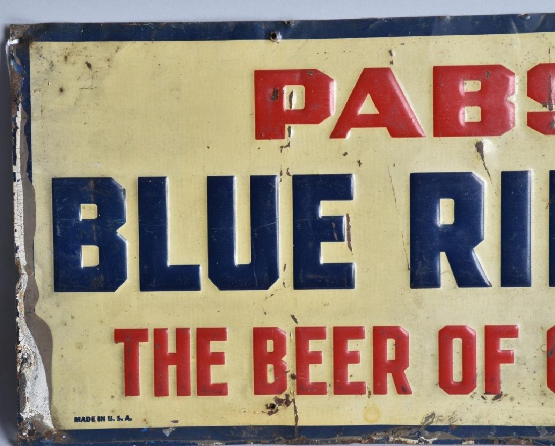 PABST BLUE RIBBON TIN EMBOSSED SIGN - 2