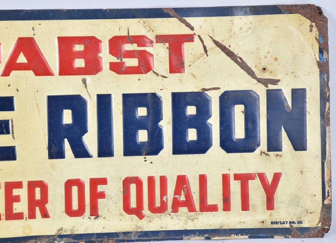 PABST BLUE RIBBON TIN EMBOSSED SIGN - 3