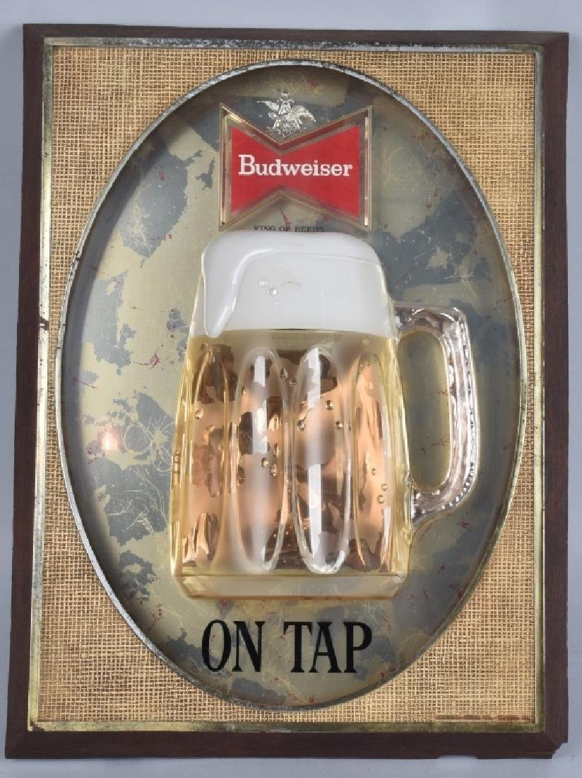 VINTAGE BUDWEISER ON TOP LIGHTED MUG SIGN