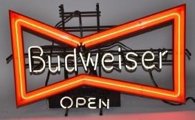 BUDWEISER BOWTIE NEON OPEN SIGN