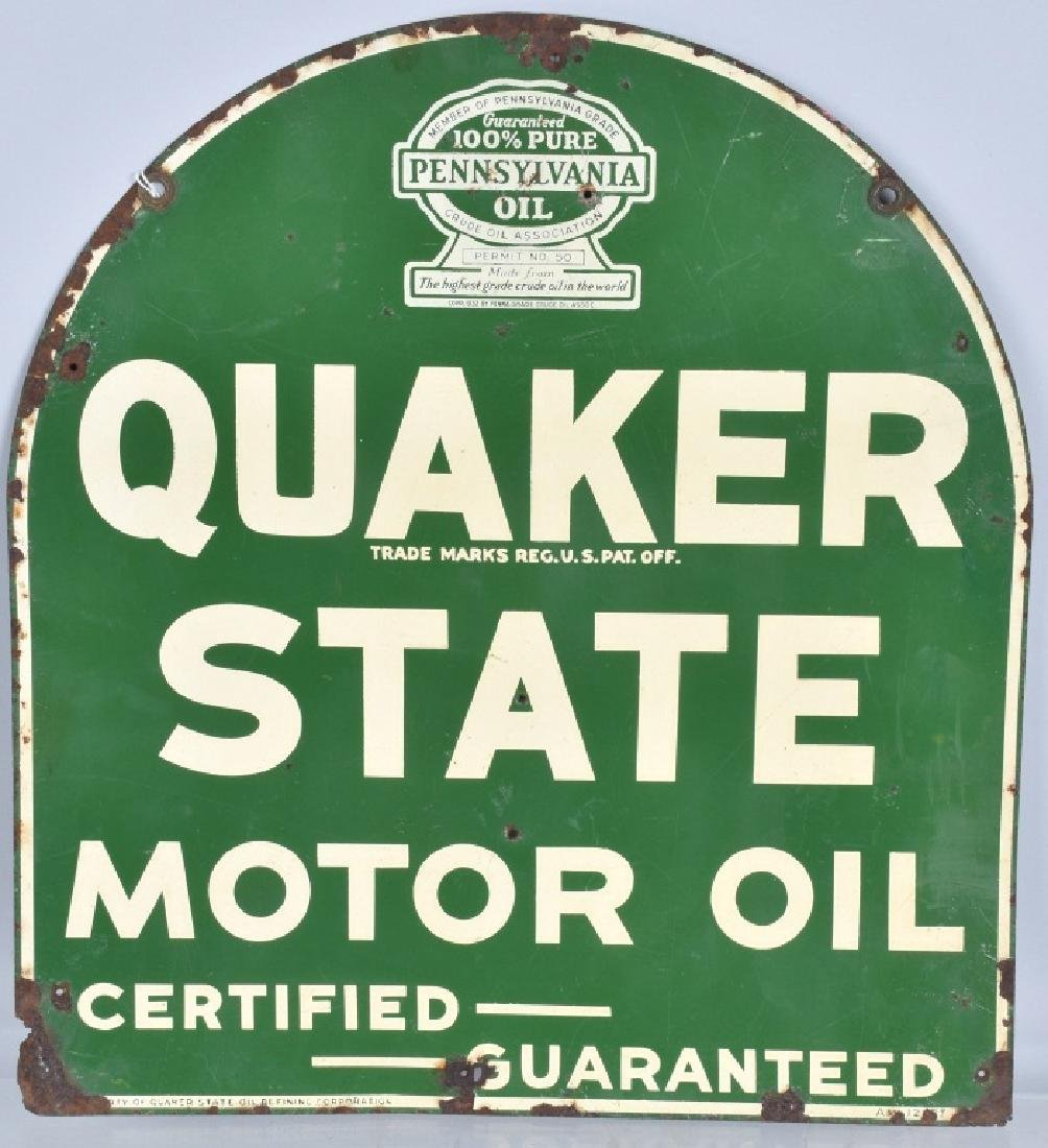 QUAKER STATE MOTOR OIL DS TIN SIGN