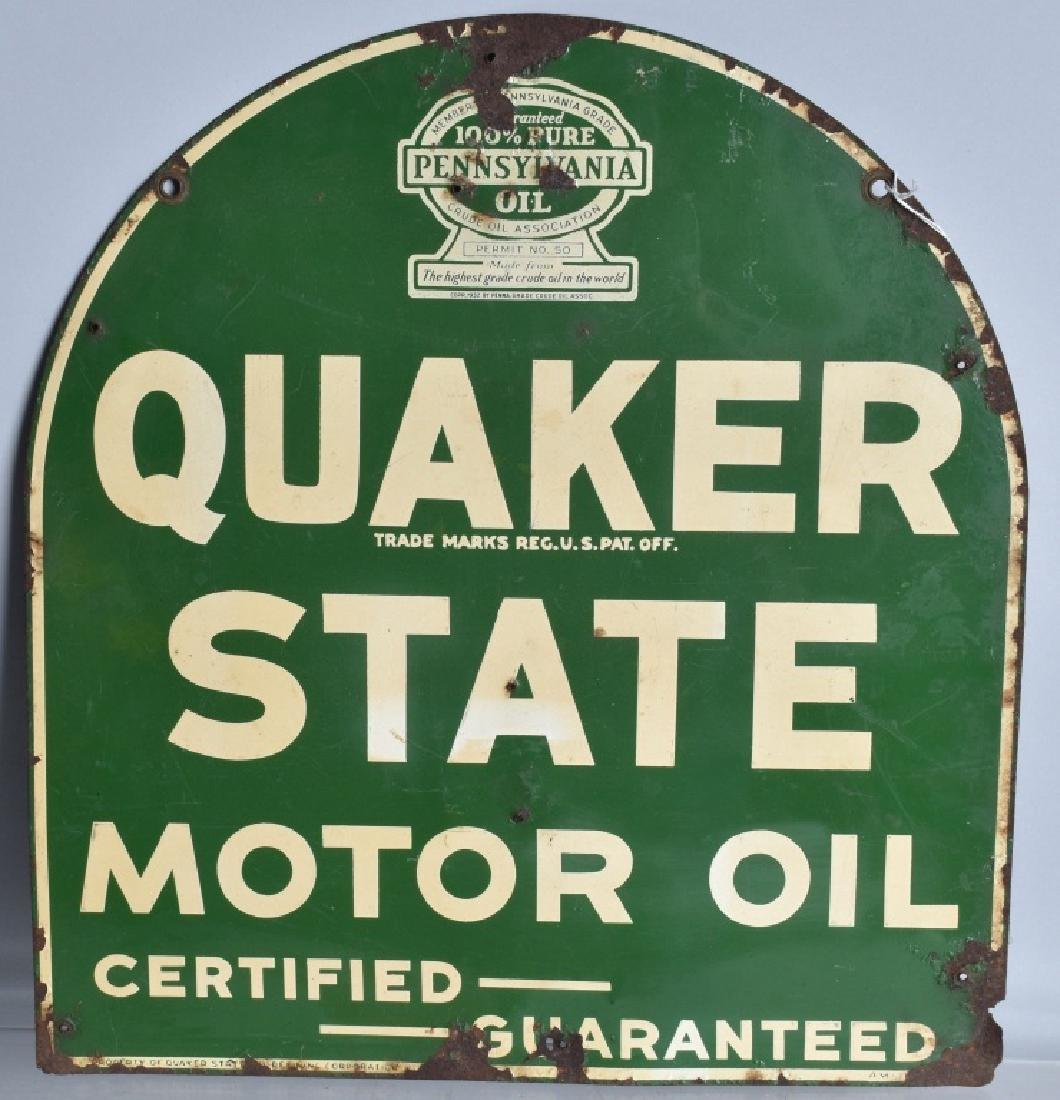 QUAKER STATE MOTOR OIL DS TIN SIGN - 3