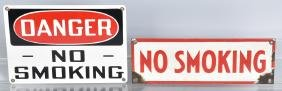 2- VINTAGE GAS STATION NO SMOKING PORCELAIN SIGNS