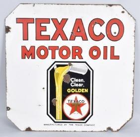 TEXACO GOLDEN MOTOR OIL DS PORCELAIN SIGN