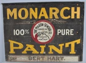 EARLY MONARCH PAINT WOODEN SIGN