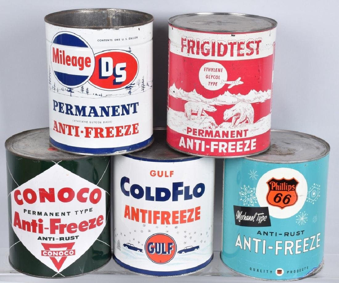 5- VINTAGE 1 GALLON ANTI-FREEZE CANS