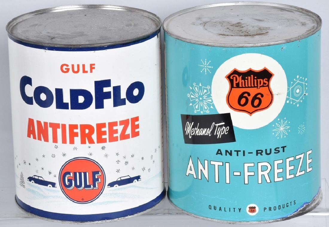 5- VINTAGE 1 GALLON ANTI-FREEZE CANS - 2