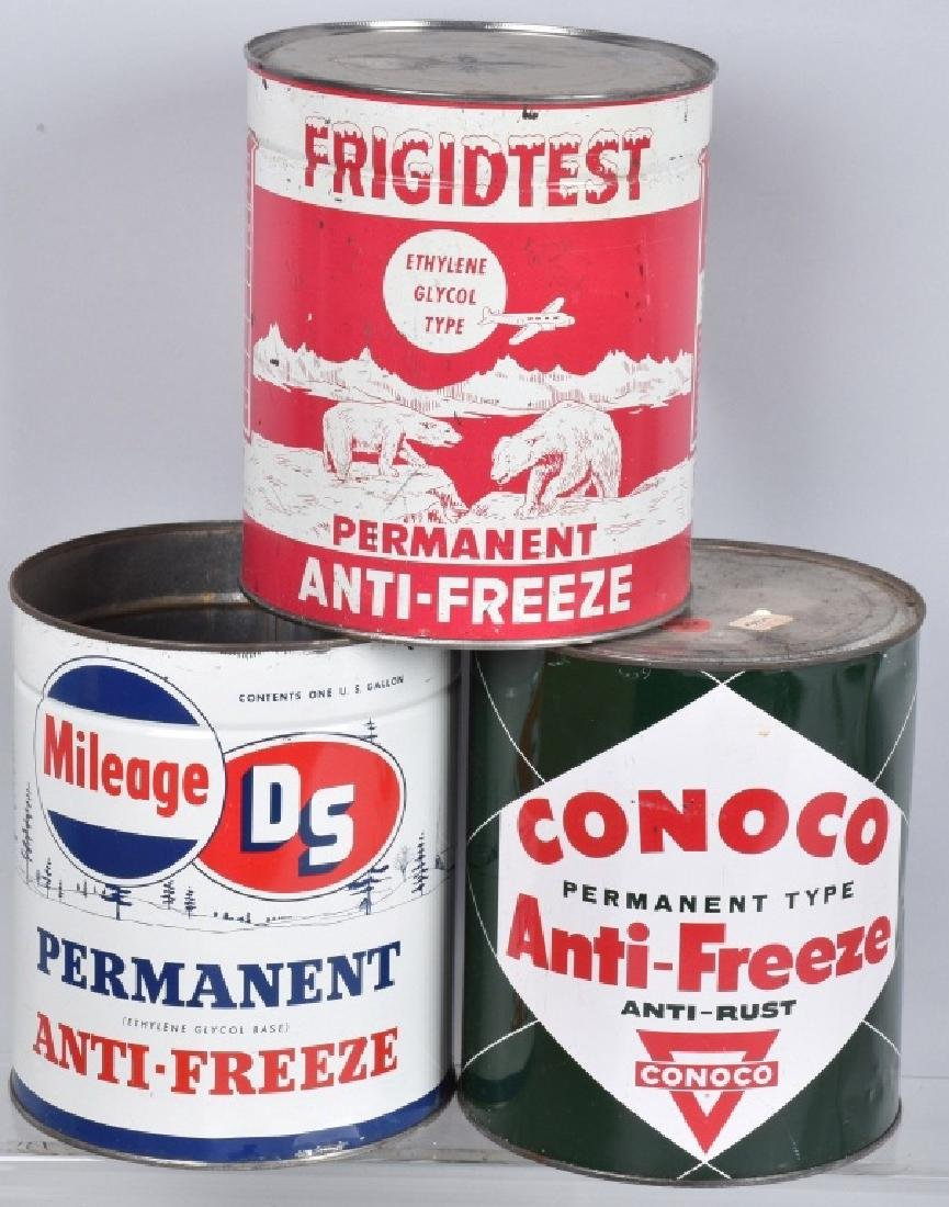 5- VINTAGE 1 GALLON ANTI-FREEZE CANS - 3