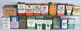 LARGE LOT OF OUTBOARD MOTOR OIL CANS & MORE