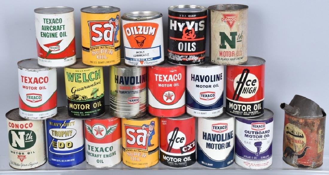 18- VINTAGE 1 QUART OIL CANS