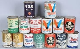 15- VINTAGE 1 QUART OIL CANS