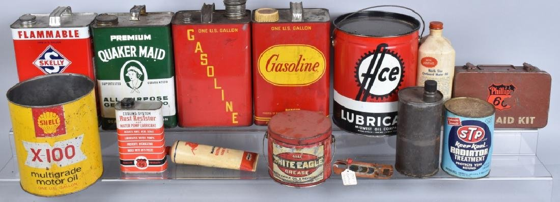 LARGE LOT OF VINTAGE GREASE, GAS, & OIL CANS