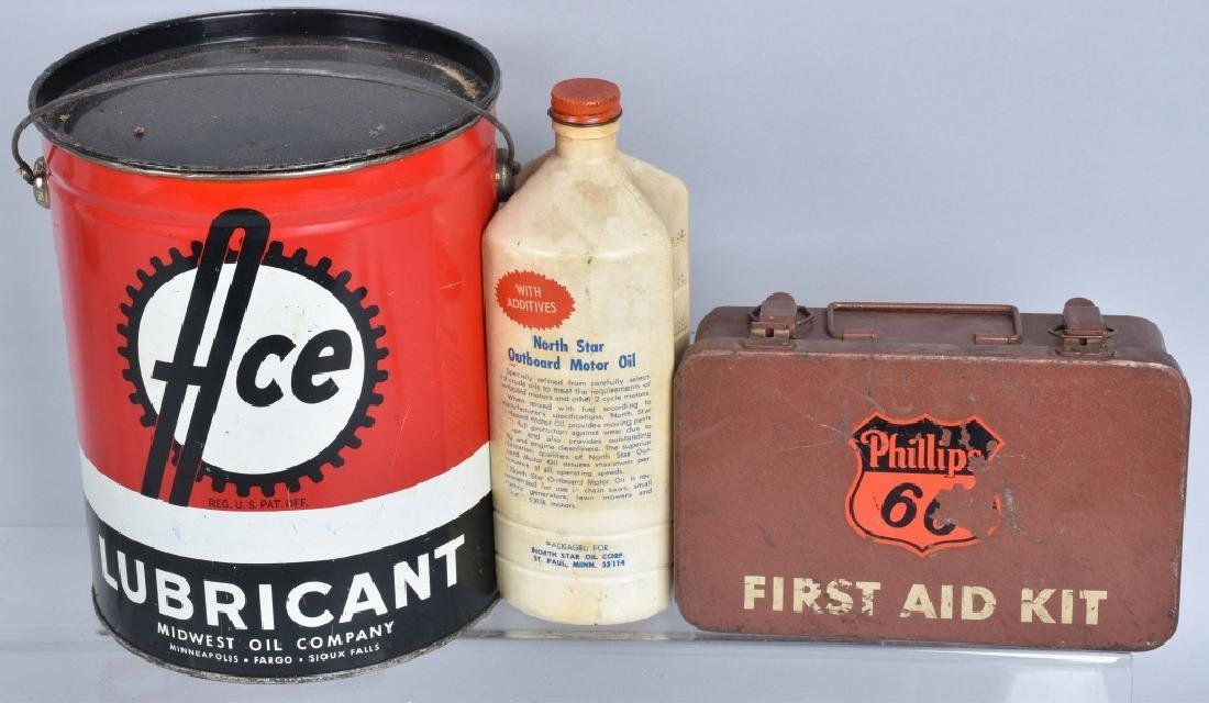 LARGE LOT OF VINTAGE GREASE, GAS, & OIL CANS - 3