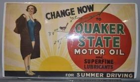 1930s QUAKER STAE MOTOR OIL BANNER