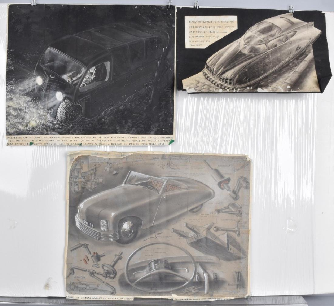 3- 1940s FRENCH CONCEPT CAR DRAWINGS