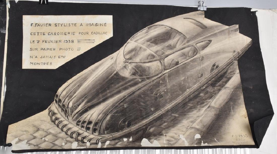 3- 1940s FRENCH CONCEPT CAR DRAWINGS - 3