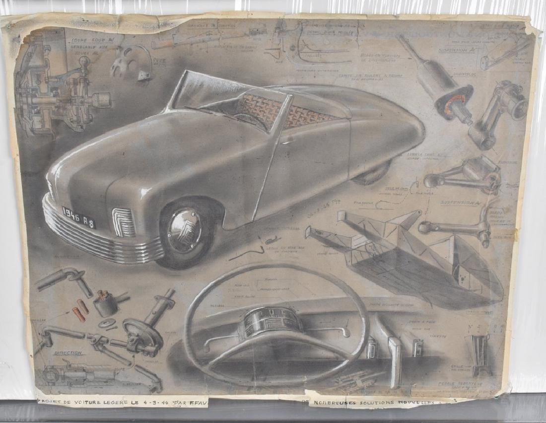 3- 1940s FRENCH CONCEPT CAR DRAWINGS - 4