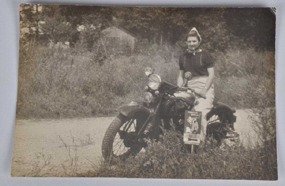 VINTAGE PHOTO OF GIRL ON MOTORCYLE w/ RACE SIGN