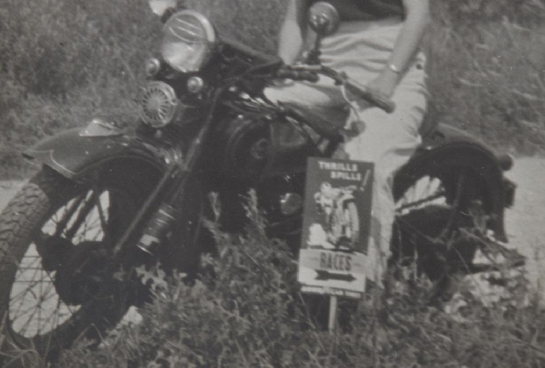 VINTAGE PHOTO OF GIRL ON MOTORCYLE w/ RACE SIGN - 2